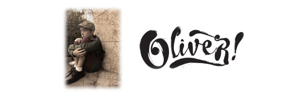 "[oliver logo: sad boy on left in sepia tones, wearing cap, jacket and shorter trousers with ""Oliver"" in a script font on the right]"